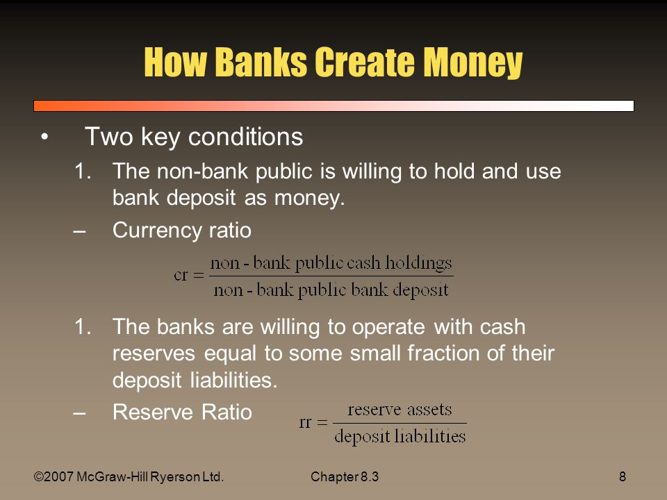©2007 McGraw-Hill Ryerson Ltd.Chapter 8.39 How Banks Create Money Banks create money when they: –Make loans –Buy financial securities Example –A reserve ratio of 10 percent –A currency ratio of 0 –Public has 1000 dollars of cash