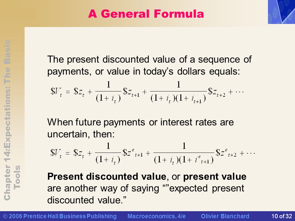Chapter 14:Expectations: The Basic Tools © 2006 Prentice Hall Business Publishing Macroeconomics, 4/e Olivier Blanchard10 of 32 A General Formula The