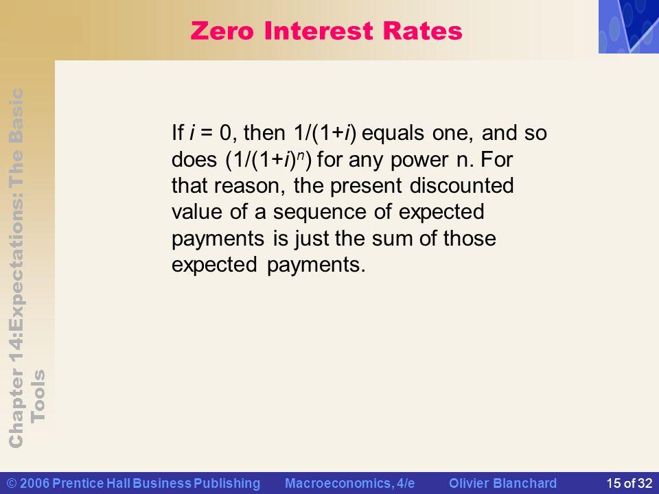 Chapter 14:Expectations: The Basic Tools © 2006 Prentice Hall Business Publishing Macroeconomics, 4/e Olivier Blanchard15 of 32 Zero Interest Rates If
