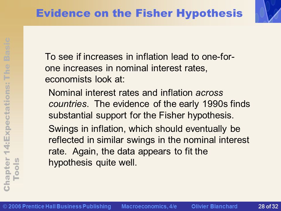 Chapter 14:Expectations: The Basic Tools © 2006 Prentice Hall Business Publishing Macroeconomics, 4/e Olivier Blanchard28 of 32 Evidence on the Fisher