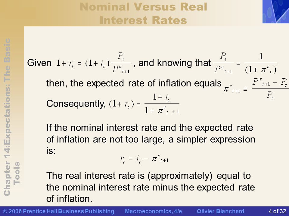 Chapter 14:Expectations: The Basic Tools © 2006 Prentice Hall Business Publishing Macroeconomics, 4/e Olivier Blanchard5 of 32 Nominal Versus Real Interest Rates Here are some of the implications of the relation above: If if
