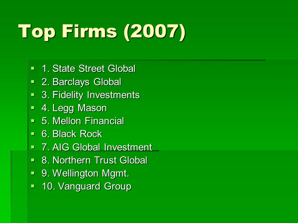 Top Firms (2007) 1.State Street Global 1. State Street Global 2.