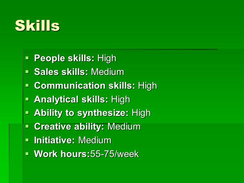 Skills People skills: High People skills: High Sales skills: Medium Sales skills: Medium Communication skills: High Communication skills: High Analytical skills: High Analytical skills: High Ability to synthesize: High Ability to synthesize: High Creative ability: Medium Creative ability: Medium Initiative: Medium Initiative: Medium Work hours:55-75/week Work hours:55-75/week