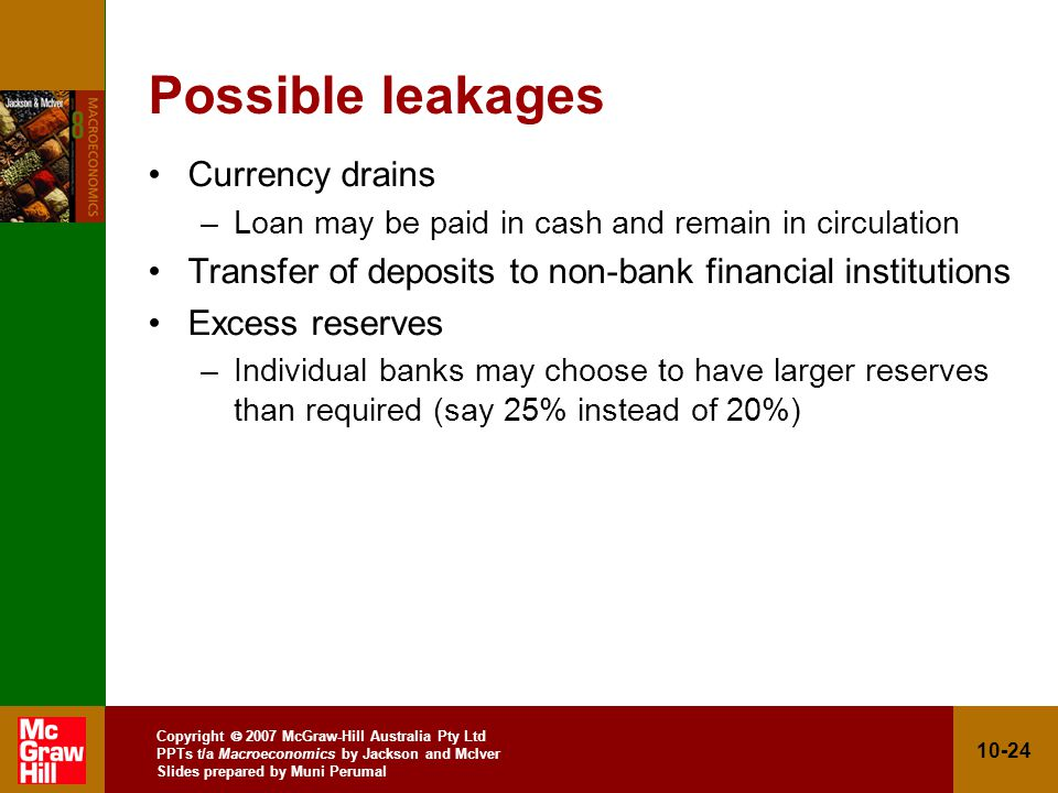 Copyright 2007 McGraw-Hill Australia Pty Ltd PPTs t/a Macroeconomics by Jackson and McIver Slides prepared by Muni Perumal 10-24 Possible leakages Currency drains –Loan may be paid in cash and remain in circulation Transfer of deposits to non-bank financial institutions Excess reserves –Individual banks may choose to have larger reserves than required (say 25% instead of 20%)