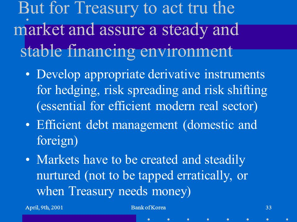 April, 9th, 2001Bank of Korea33 But for Treasury to act tru the market and assure a steady and stable financing environment Develop appropriate deriva