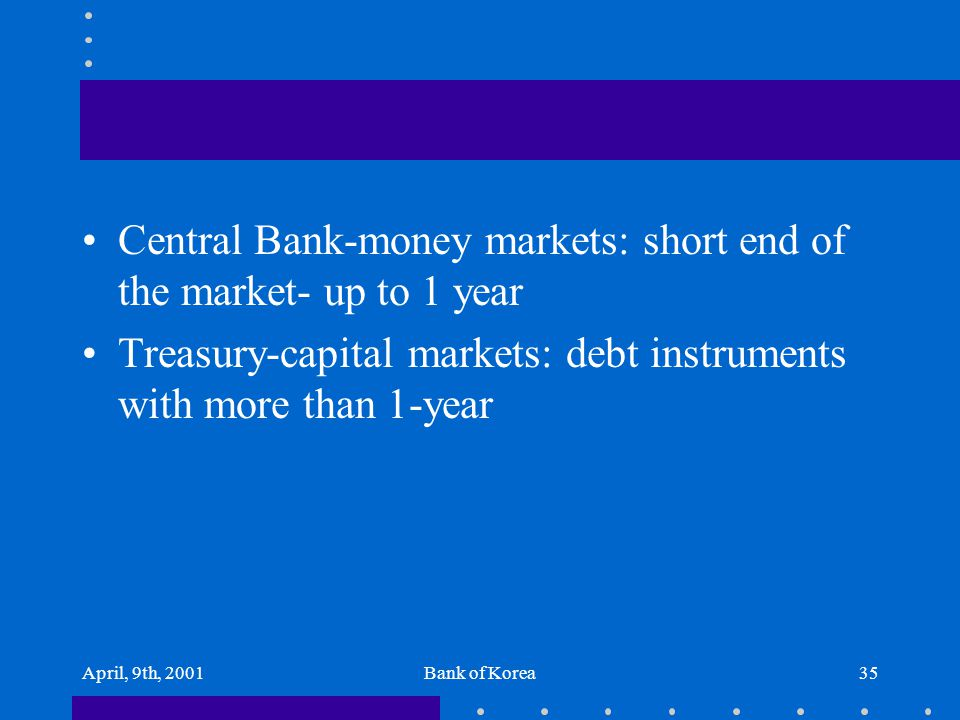 April, 9th, 2001Bank of Korea35 Central Bank-money markets: short end of the market- up to 1 year Treasury-capital markets: debt instruments with more