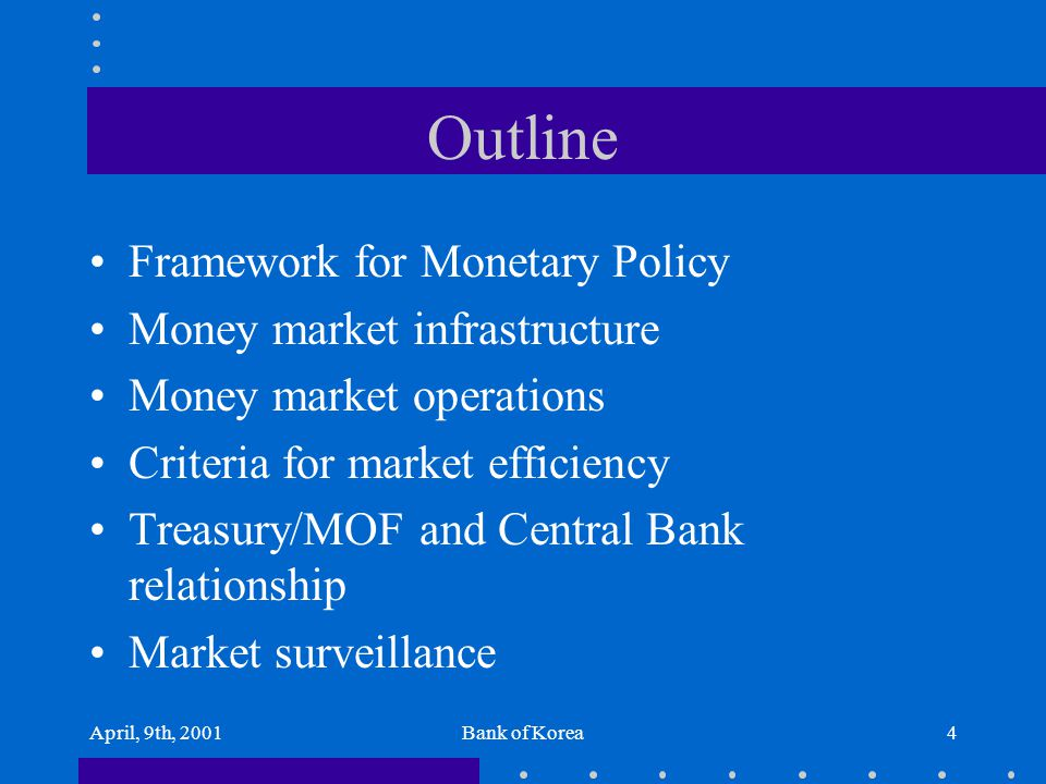 April, 9th, 2001Bank of Korea4 Outline Framework for Monetary Policy Money market infrastructure Money market operations Criteria for market efficienc