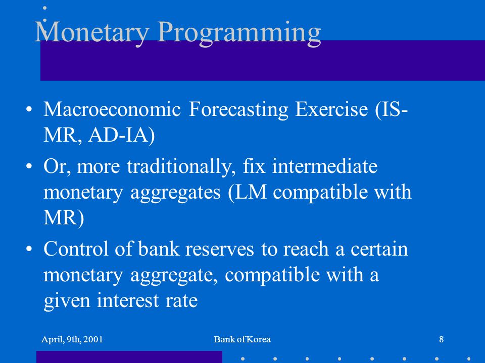 April, 9th, 2001Bank of Korea8 Monetary Programming Macroeconomic Forecasting Exercise (IS- MR, AD-IA) Or, more traditionally, fix intermediate moneta