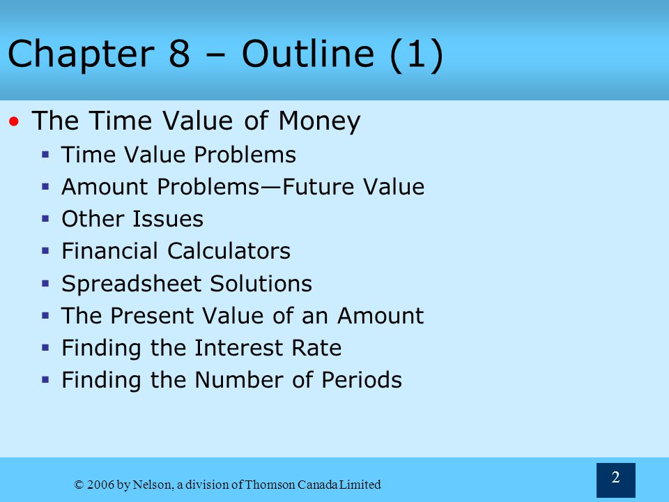 © 2006 by Nelson, a division of Thomson Canada Limited 63 Figure 8.7: The Future Value of a Three-Period Annuity Due