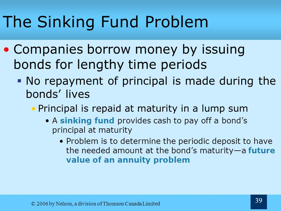 © 2006 by Nelson, a division of Thomson Canada Limited 39 The Sinking Fund Problem Companies borrow money by issuing bonds for lengthy time periods No