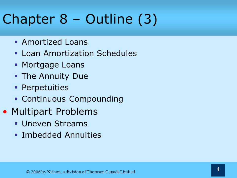 © 2006 by Nelson, a division of Thomson Canada Limited 55 Example 8.10: Amortized Loans PMT N PV I/Y 293.75 48 10000 1.5 0 FV Answer This can also be calculated using the PVA formula of PVA = PMT[PVFA k, n ] n = 48 and k = 1.5% $10,000 = PMT[34.0426] = $293.75.