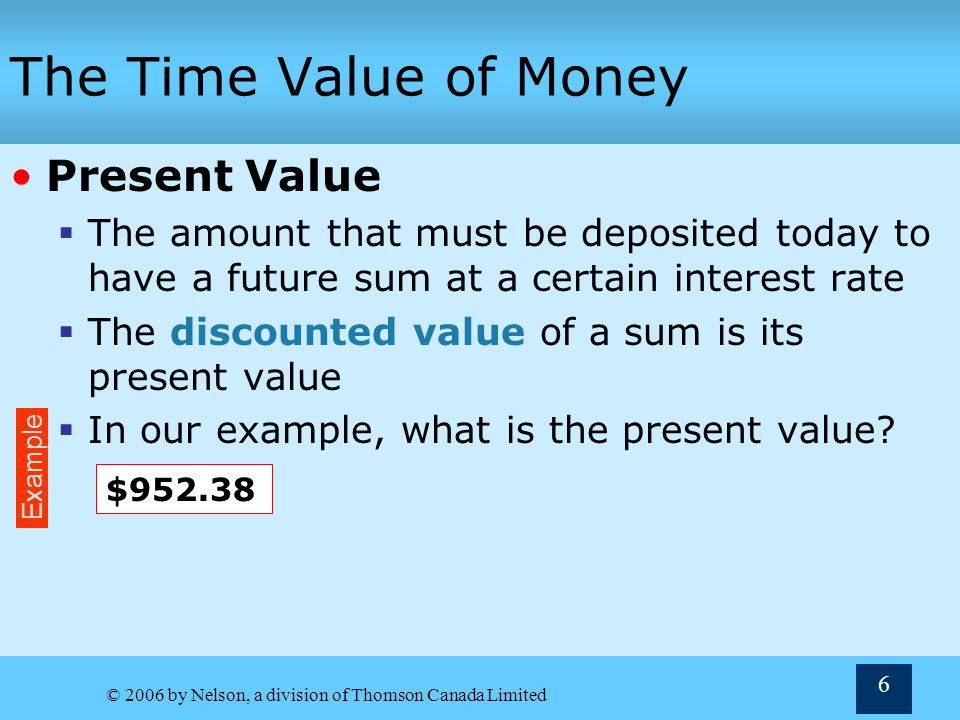 © 2006 by Nelson, a division of Thomson Canada Limited 47 The Effective Annual Rate The APR and EAR Annual percentage rate (APR) Is actually the nominal rate and is less than the EAR Compounding Periods and the Time Value Formulas Time periods must be compounding periods Interest rate must be the rate for a single compounding period For instance, with a quarterly compounding period the k nominal must be divided by 4 and the n must be multiplied by 4