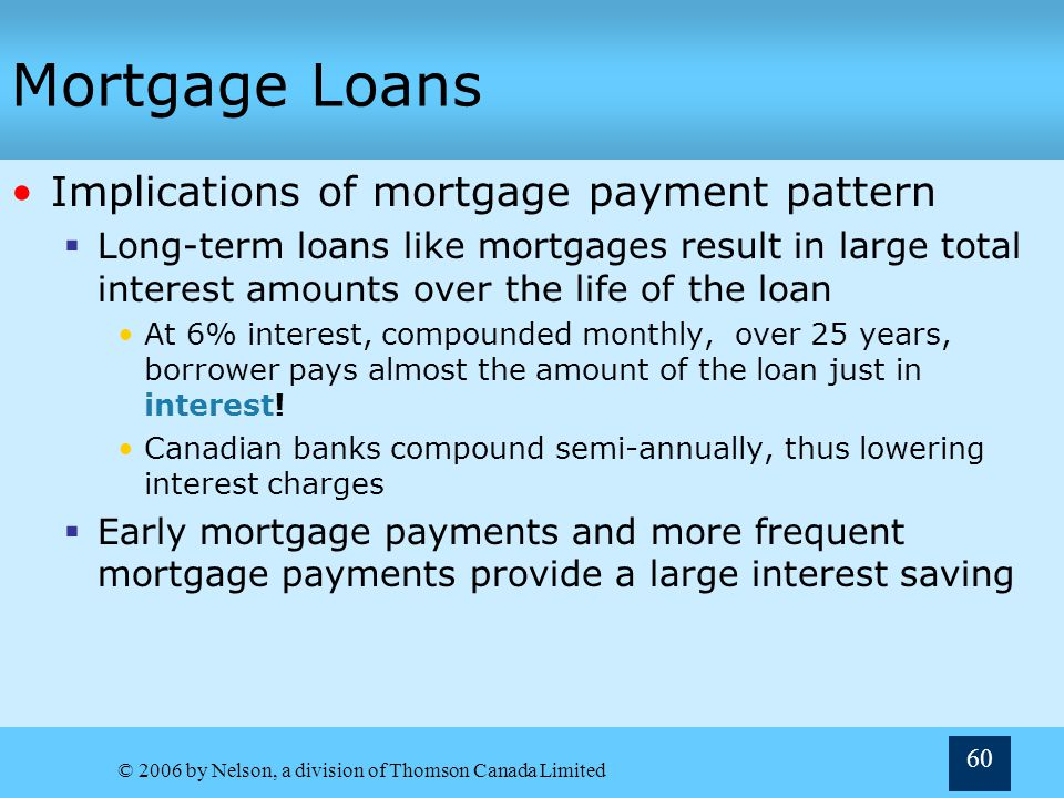 © 2006 by Nelson, a division of Thomson Canada Limited 60 Mortgage Loans Implications of mortgage payment pattern Long-term loans like mortgages resul