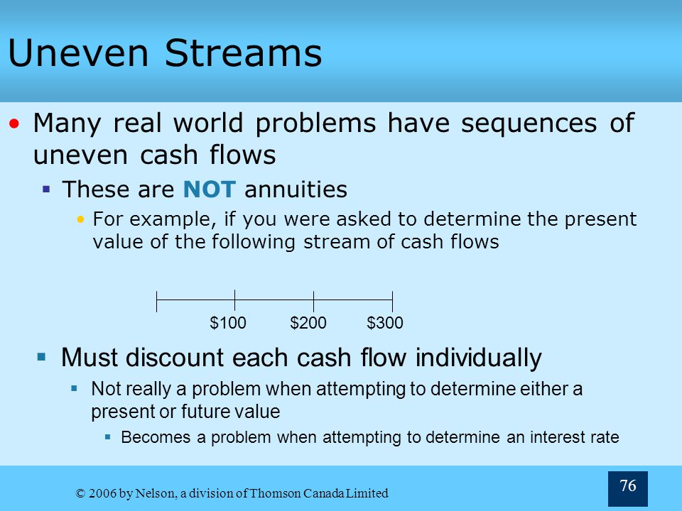 © 2006 by Nelson, a division of Thomson Canada Limited 76 Uneven Streams Many real world problems have sequences of uneven cash flows These are NOT an