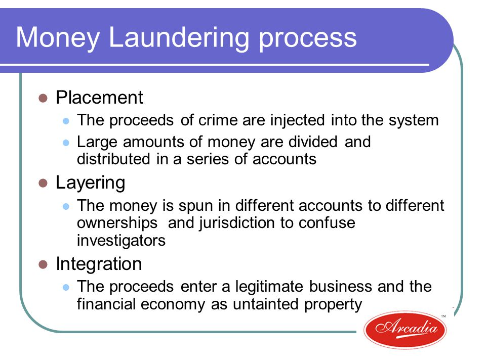 Money Laundering process Placement The proceeds of crime are injected into the system Large amounts of money are divided and distributed in a series of accounts Layering The money is spun in different accounts to different ownerships and jurisdiction to confuse investigators Integration The proceeds enter a legitimate business and the financial economy as untainted property