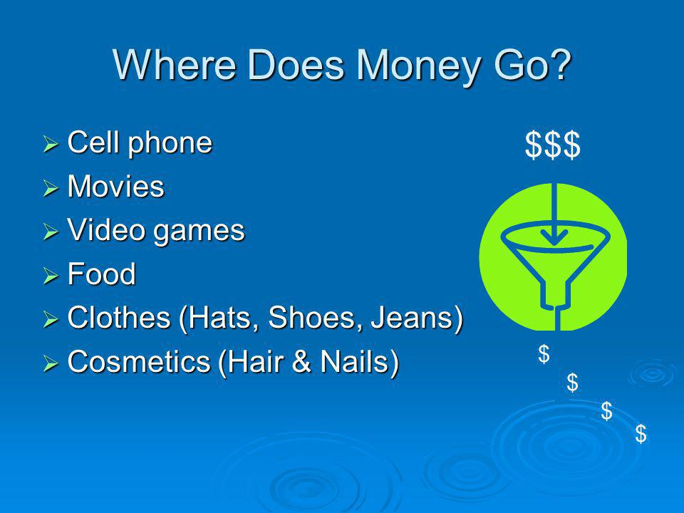 Where Does Money Go? Cell phone Cell phone Movies Movies Video games Video games Food Food Clothes (Hats, Shoes, Jeans) Clothes (Hats, Shoes, Jeans) C