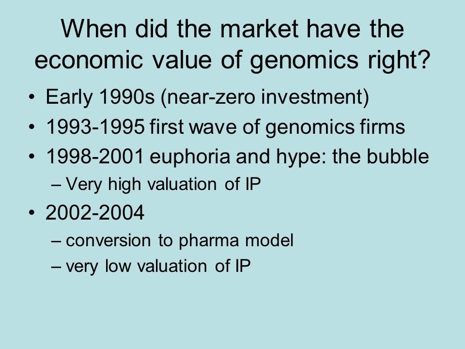 When did the market have the economic value of genomics right.