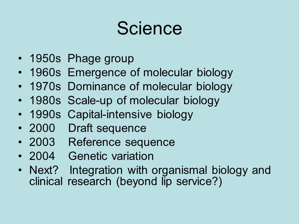 Science 1950s Phage group 1960s Emergence of molecular biology 1970s Dominance of molecular biology 1980s Scale-up of molecular biology 1990s Capital-intensive biology 2000 Draft sequence 2003 Reference sequence 2004 Genetic variation Next.