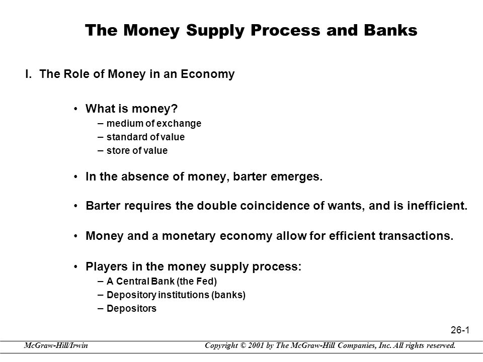 Copyright © 2001 by The McGraw-Hill Companies, Inc. All rights reserved.McGraw-Hill/Irwin 26-1 The Money Supply Process and Banks I. The Role of Money