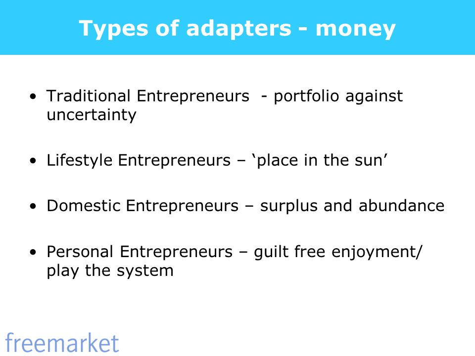 Types of adapters - money Traditional Entrepreneurs - portfolio against uncertainty Lifestyle Entrepreneurs – place in the sun Domestic Entrepreneurs – surplus and abundance Personal Entrepreneurs – guilt free enjoyment/ play the system