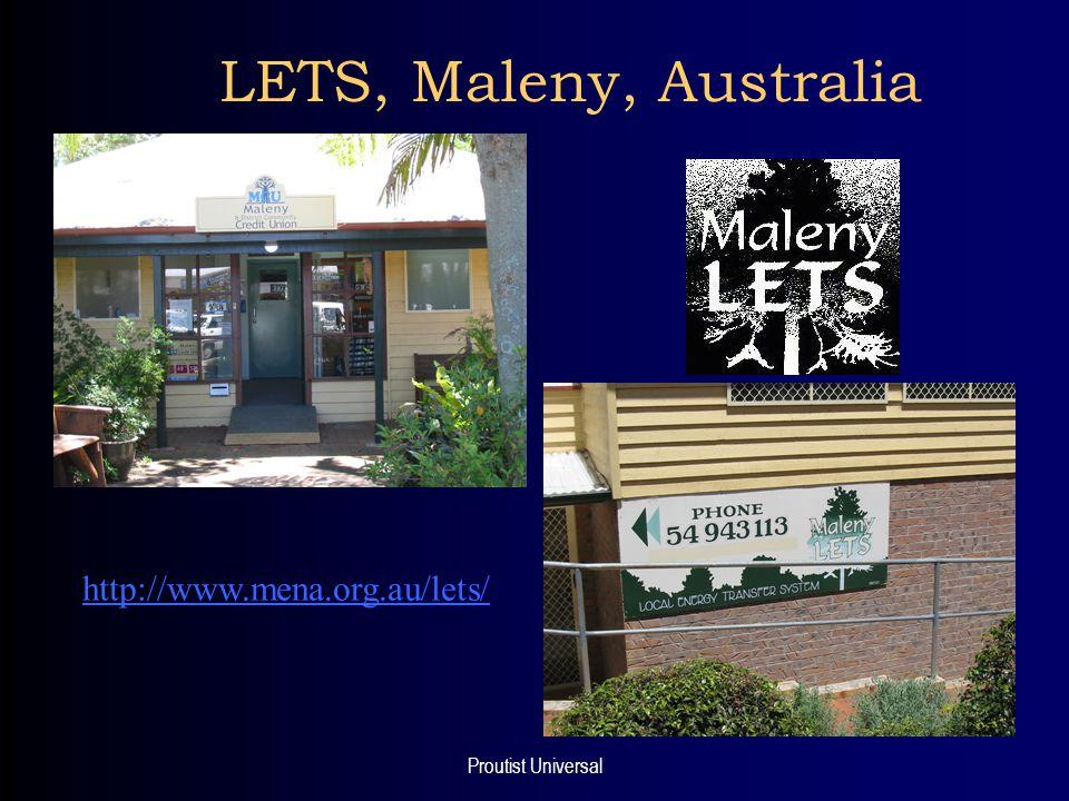 Proutist Universal LETS, Maleny, Australia http://www.mena.org.au/lets/