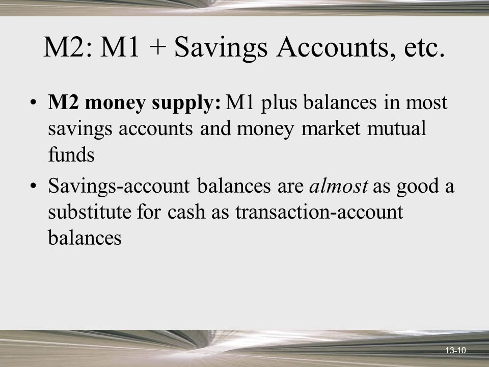 13-10 M2: M1 + Savings Accounts, etc.