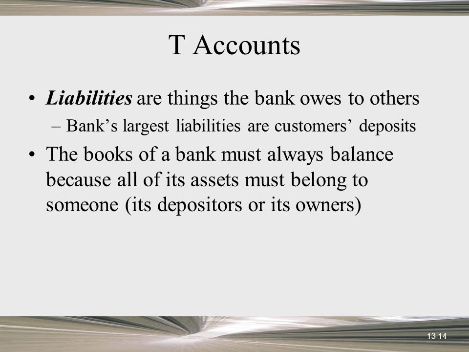 13-14 T Accounts Liabilities are things the bank owes to others –Banks largest liabilities are customers deposits The books of a bank must always bala