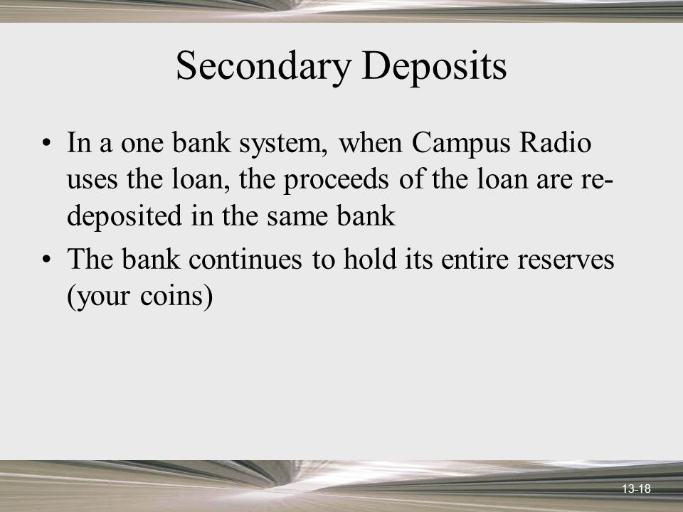 13-18 Secondary Deposits In a one bank system, when Campus Radio uses the loan, the proceeds of the loan are re- deposited in the same bank The bank continues to hold its entire reserves (your coins)