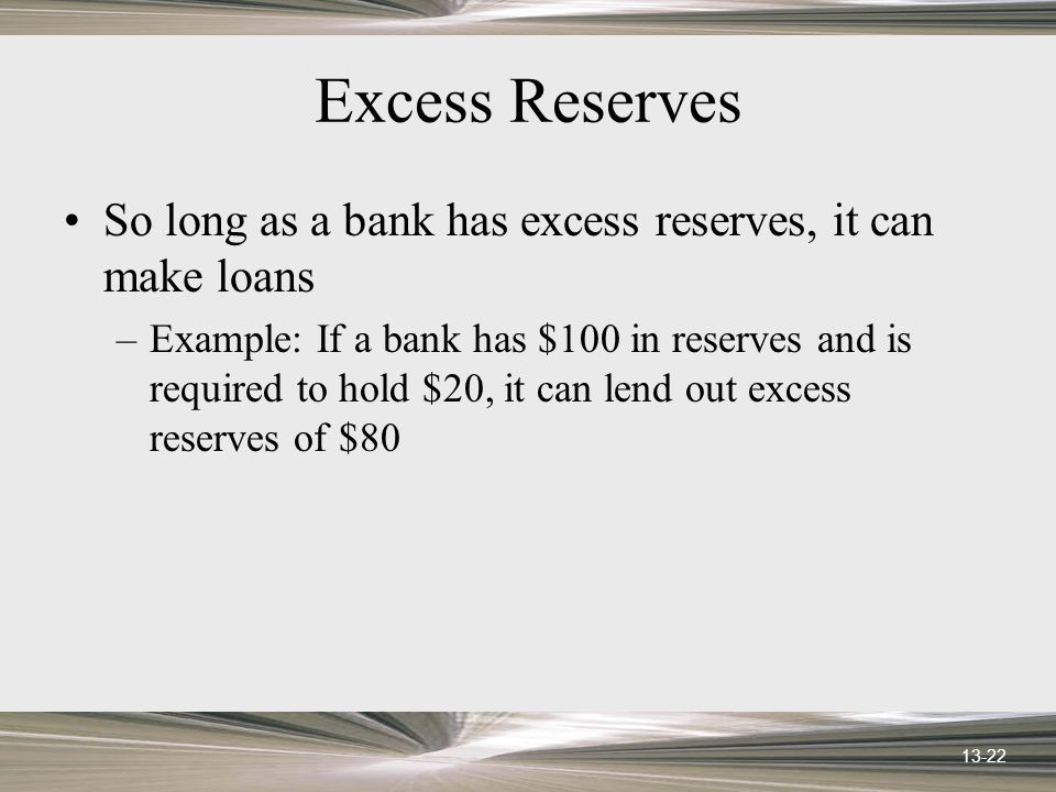 13-22 Excess Reserves So long as a bank has excess reserves, it can make loans –Example: If a bank has $100 in reserves and is required to hold $20, i