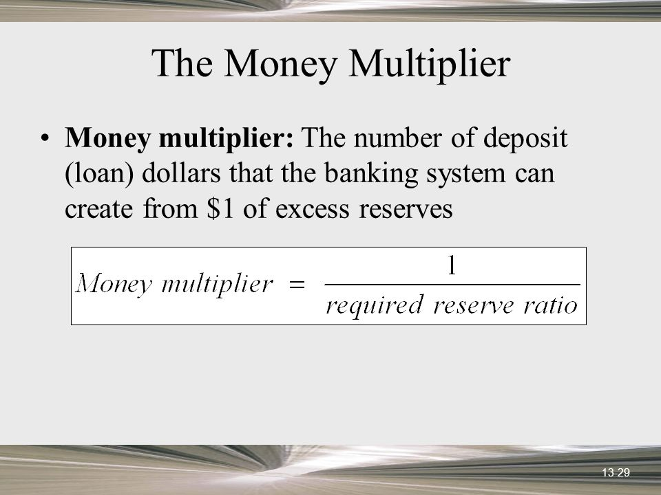 13-29 The Money Multiplier Money multiplier: The number of deposit (loan) dollars that the banking system can create from $1 of excess reserves