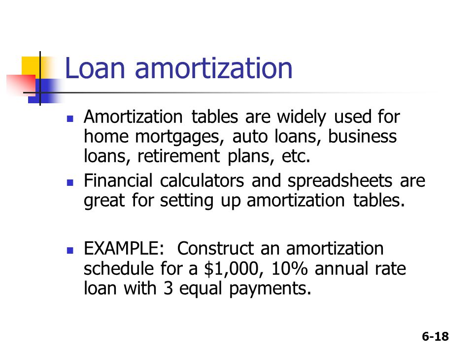 6-18 Loan amortization Amortization tables are widely used for home mortgages, auto loans, business loans, retirement plans, etc. Financial calculator