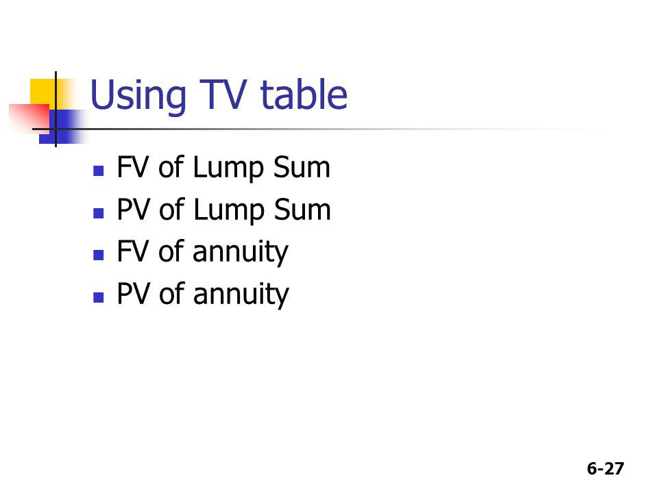 6-27 Using TV table FV of Lump Sum PV of Lump Sum FV of annuity PV of annuity