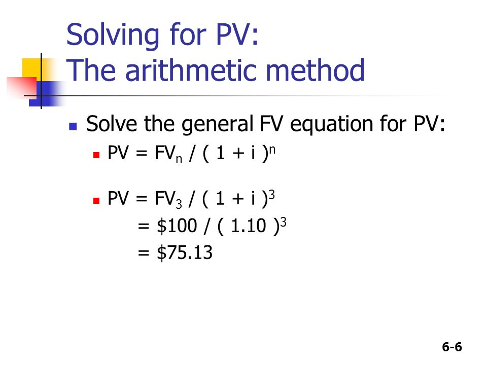 6-6 Solving for PV: The arithmetic method Solve the general FV equation for PV: PV = FV n / ( 1 + i ) n PV = FV 3 / ( 1 + i ) 3 = $100 / ( 1.10 ) 3 = $75.13