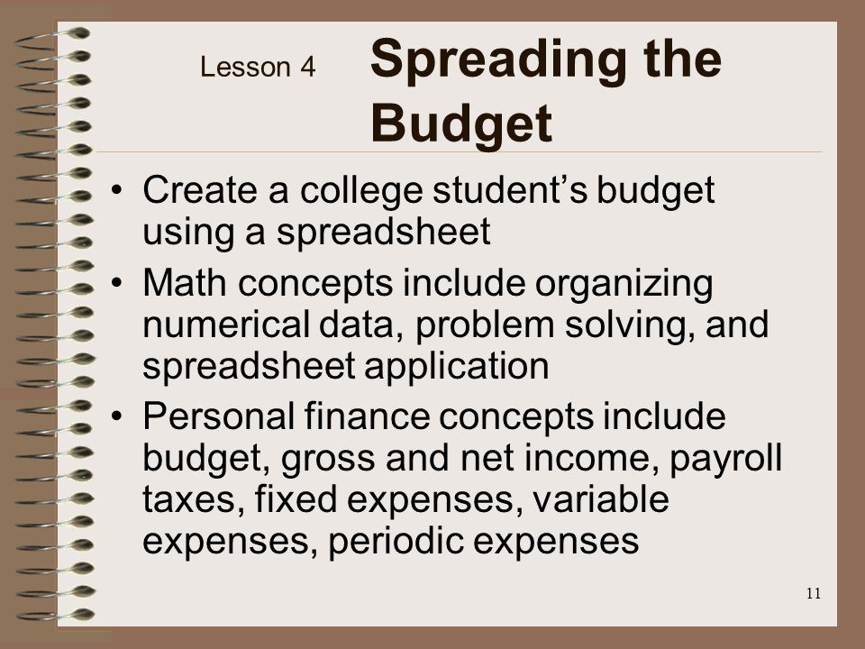 11 Lesson 4 Spreading the Budget Create a college students budget using a spreadsheet Math concepts include organizing numerical data, problem solving, and spreadsheet application Personal finance concepts include budget, gross and net income, payroll taxes, fixed expenses, variable expenses, periodic expenses