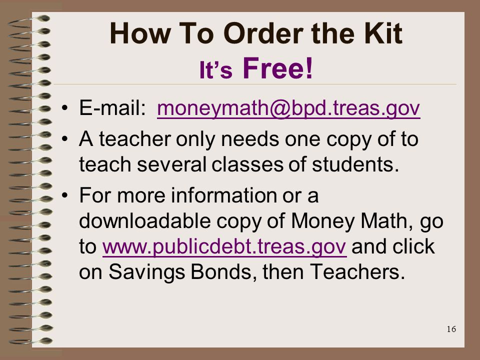 16 How To Order the Kit Its Free.