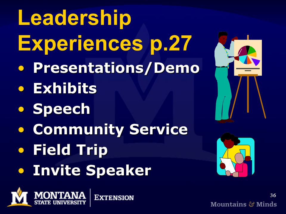 Leadership Experiences p.27 Presentations/Demo Presentations/Demo Exhibits Exhibits Speech Speech Community Service Community Service Field Trip Field Trip Invite Speaker Invite Speaker 36