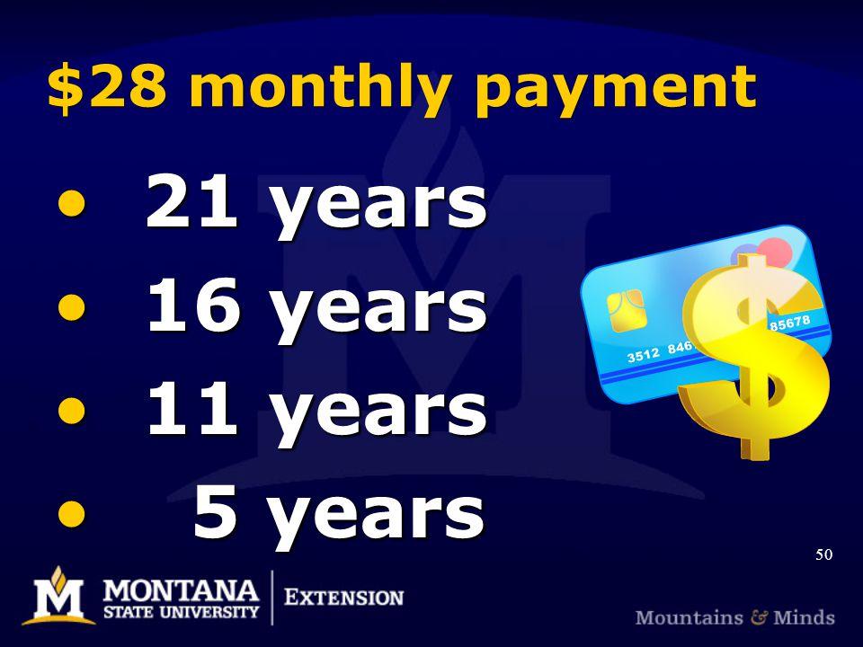 $28 monthly payment 21 years 21 years 16 years 16 years 11 years 11 years 5 years 5 years 50