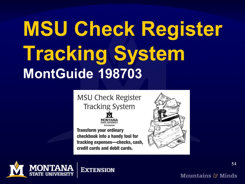 MSU Check Register Tracking System MontGuide 198703 54