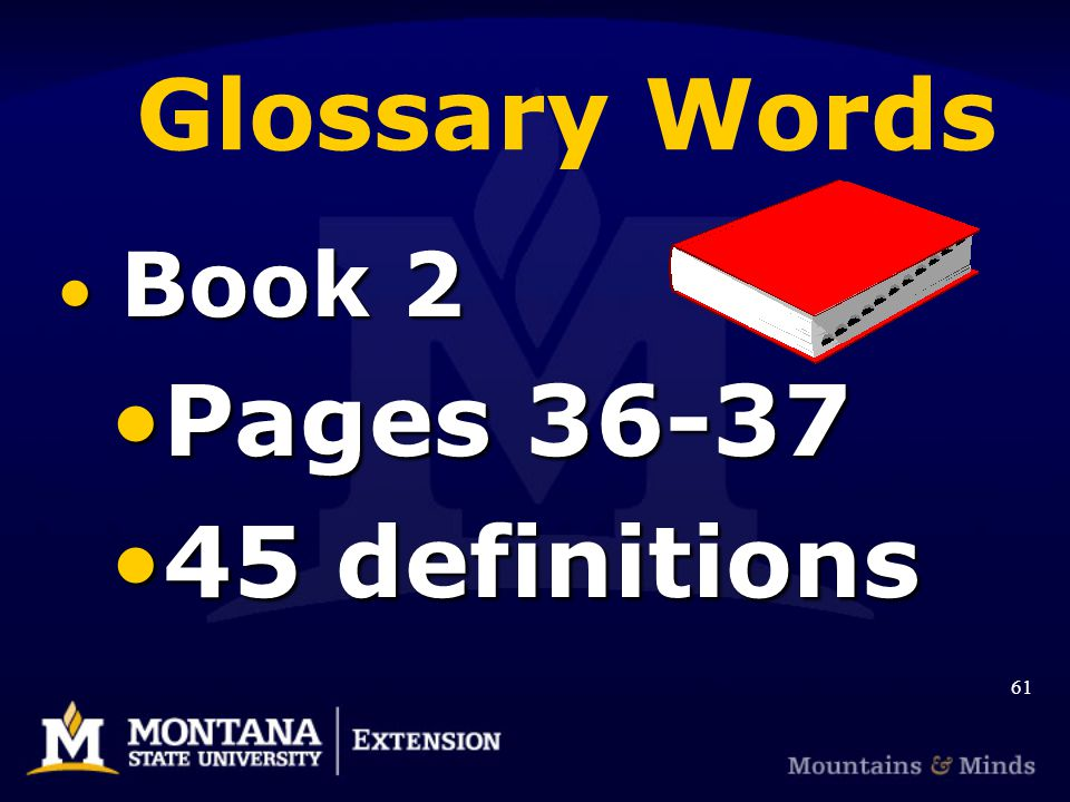 Glossary Words Book 2 Book 2 Pages 36-37Pages 36-37 45 definitions45 definitions 61