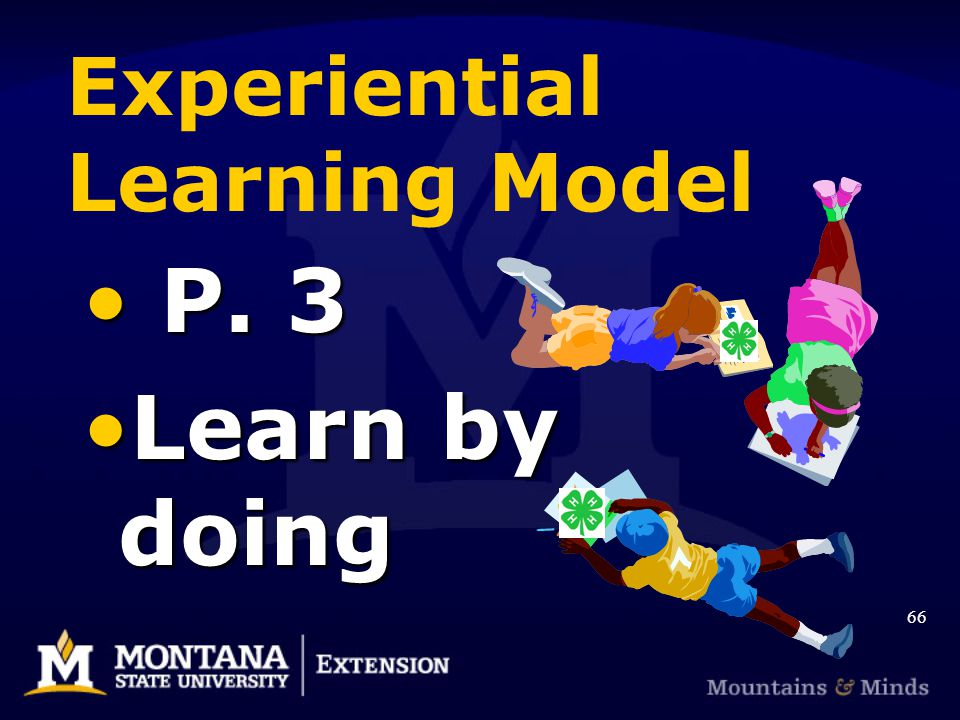 Experiential Learning Model P. 3 P. 3 Learn by doingLearn by doing 66
