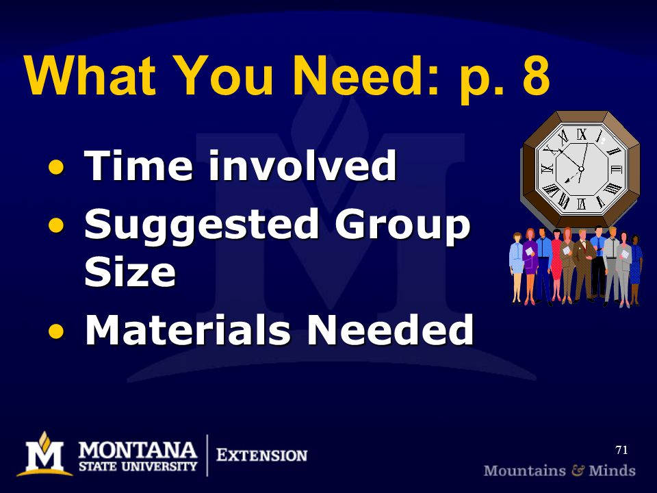What You Need: p. 8 Time involved Suggested Group Size Materials Needed 71