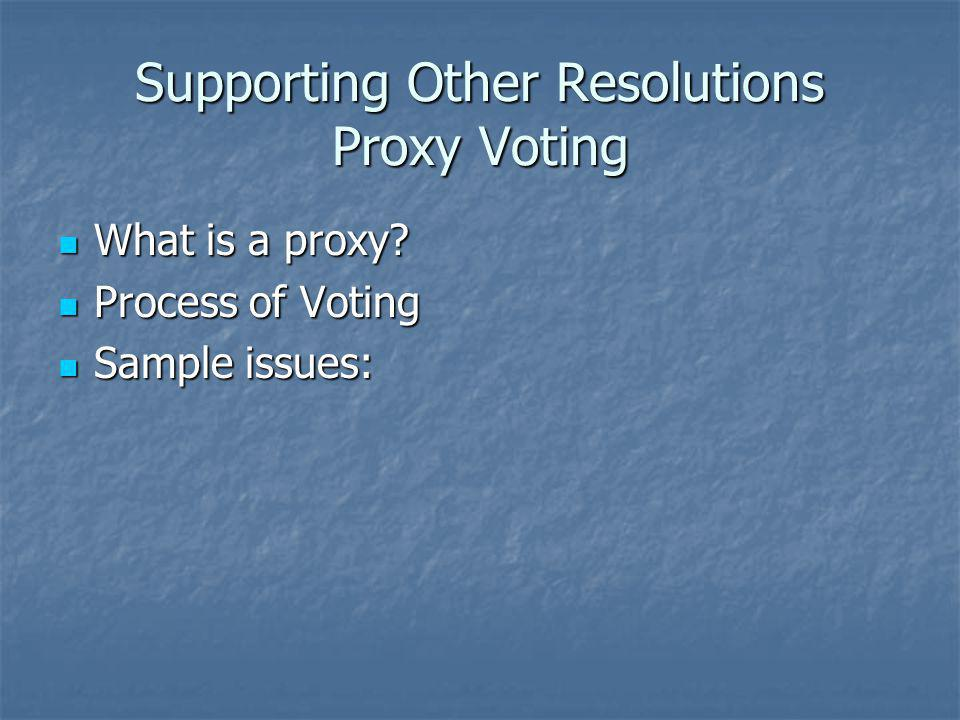 Supporting Other Resolutions Proxy Voting What is a proxy.