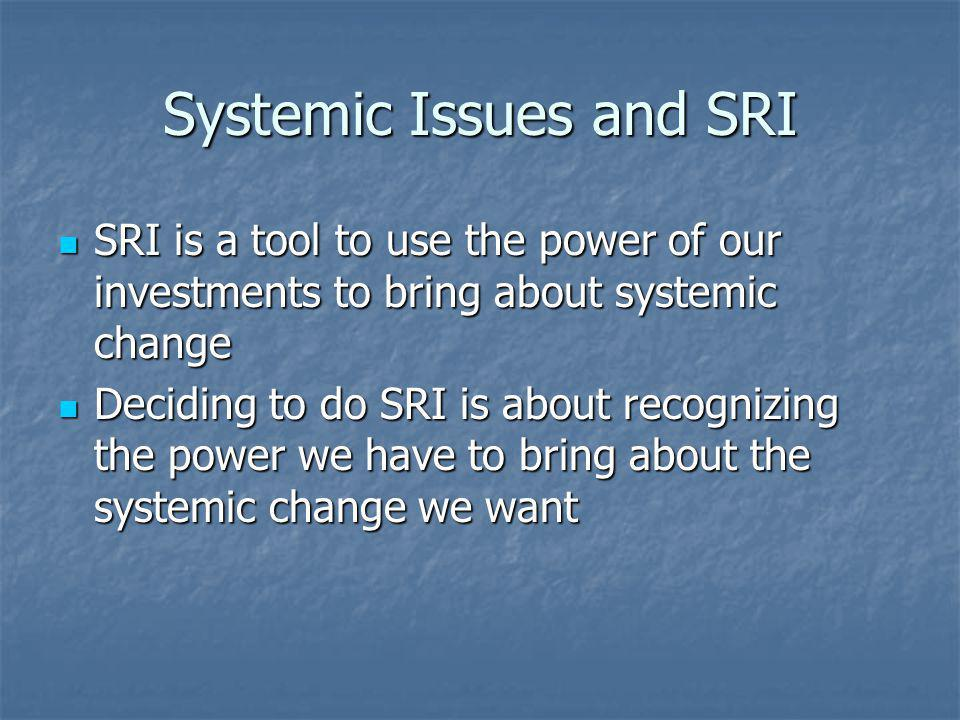Some SRI history Screening – deciding there are things from which you are unwilling to make money Screening – deciding there are things from which you are unwilling to make money Traditional sin stocks – alcohol, tobacco and gambling Traditional sin stocks – alcohol, tobacco and gambling TODAY: What are the systemic sins that affect persons, communities, the environment.