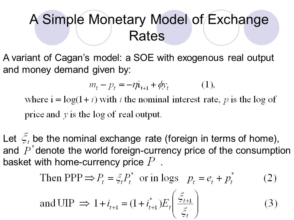 A Simple Monetary Model of Exchange Rates A variant of Cagans model: a SOE with exogenous real output and money demand given by: Let be the nominal ex