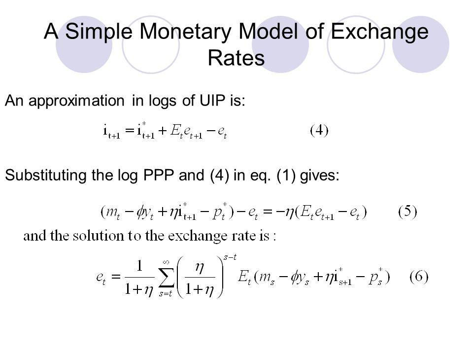 A Simple Monetary Model of Exchange Rates An approximation in logs of UIP is: Substituting the log PPP and (4) in eq. (1) gives: