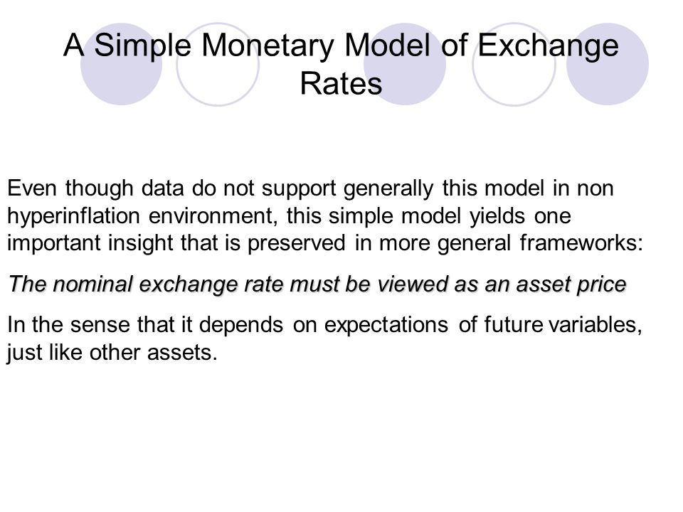 A Simple Monetary Model of Exchange Rates Even though data do not support generally this model in non hyperinflation environment, this simple model yi