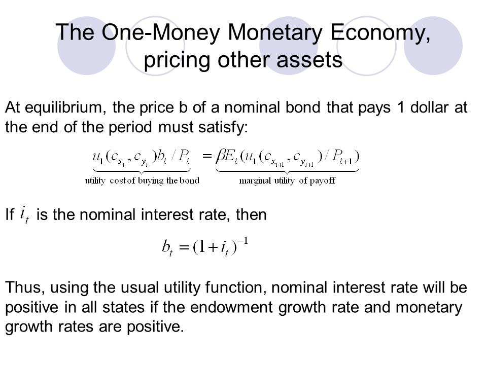 The One-Money Monetary Economy, pricing other assets At equilibrium, the price b of a nominal bond that pays 1 dollar at the end of the period must sa
