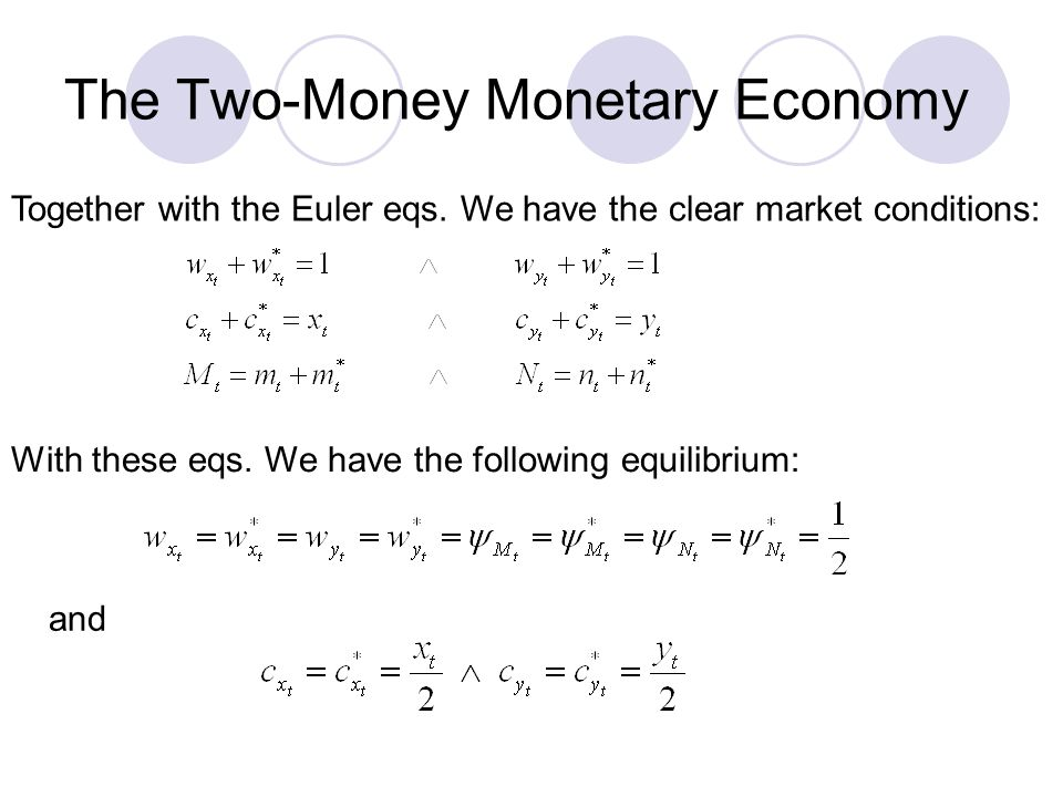 The Two-Money Monetary Economy Together with the Euler eqs. We have the clear market conditions: With these eqs. We have the following equilibrium: an