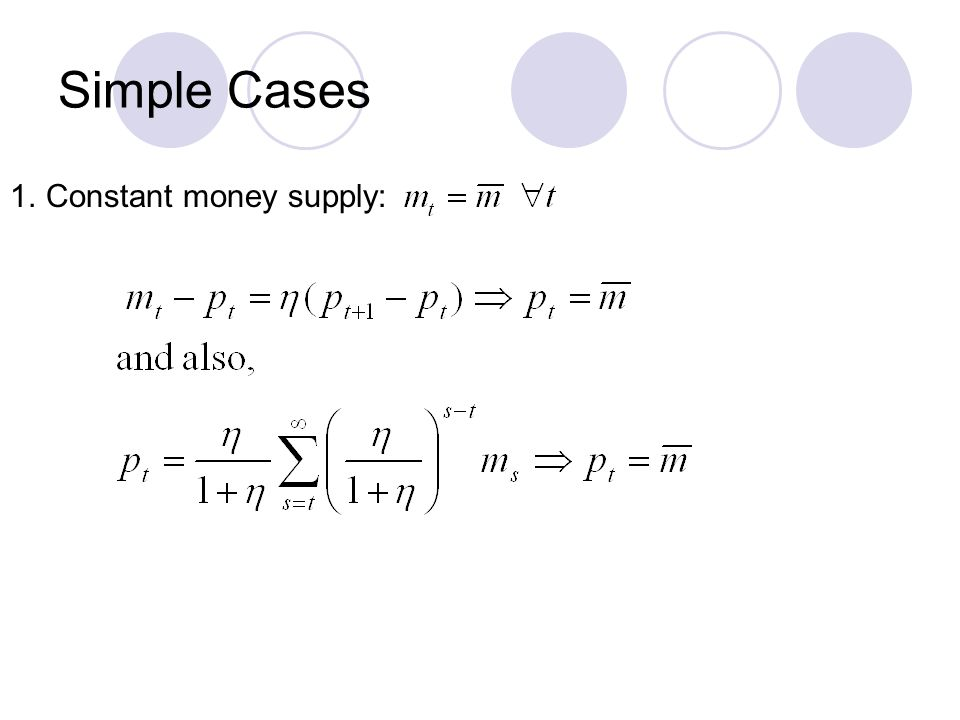Simple Cases 1.Constant money supply: