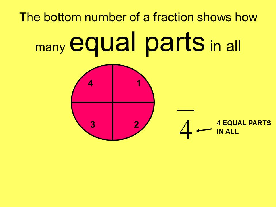 The bottom number of a fraction shows how many equal parts in all 1 23 4 4 EQUAL PARTS IN ALL